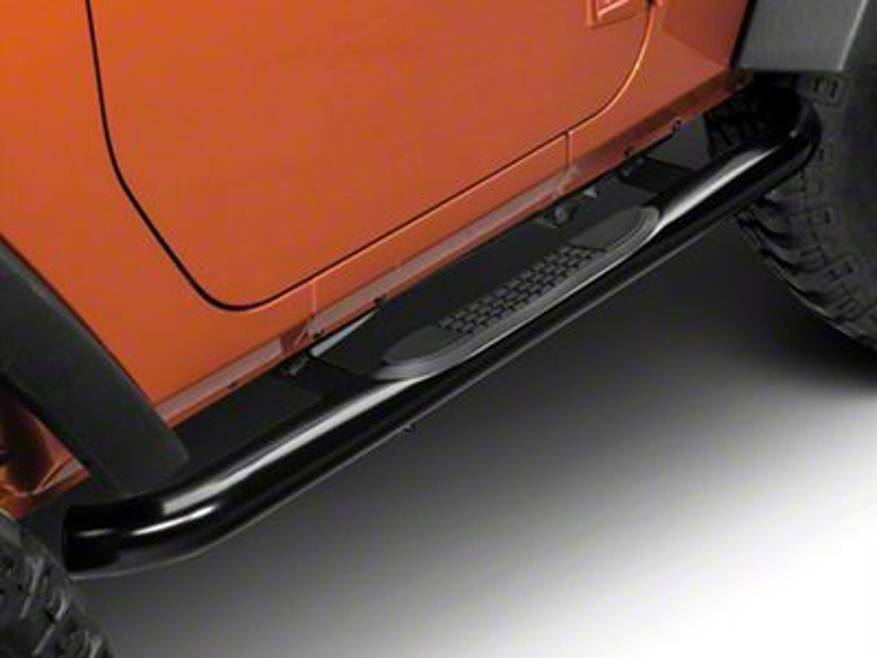 RedRock 4x4 3 in. Round Curved Side Step Bars - Gloss Black (07-18 Jeep Wrangler JK 2 Door)