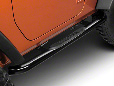 RedRock 4x4 3 in. Curved Round Side Step Bars - Gloss Black (07-18 Wrangler JK 2 Door)