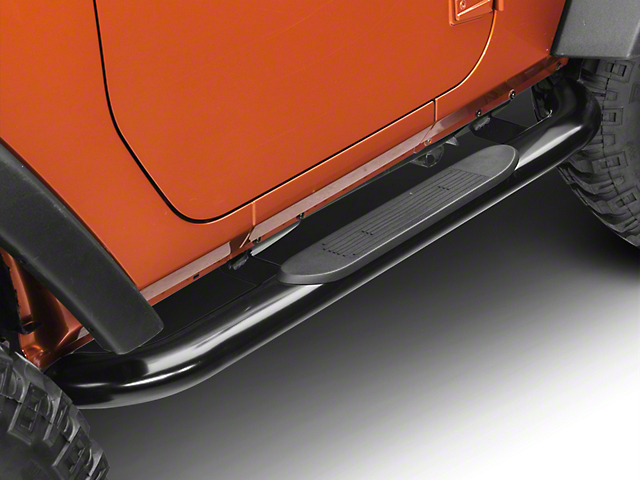 RedRock 4x4 4-Inch Oval Curved Side Step Bars; Semi-Gloss Black (07-18 Jeep Wrangler JK 2 Door)