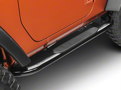 RedRock 4x4 4 in. Curved Oval Side Step Bars - Gloss Black (07-18 Jeep Wrangler JK 2 Door)