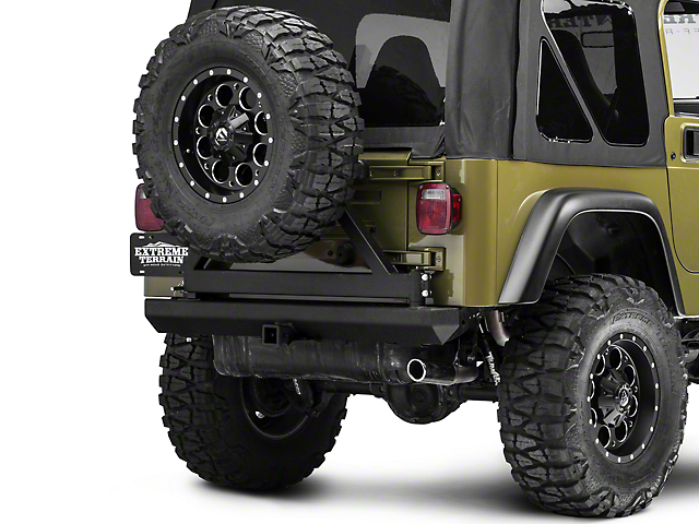 RedRock 4x4 Rock Crawler Rear Bumper w/ Tire Carrier - Textured Black (87-06 Jeep Wrangler YJ & TJ)