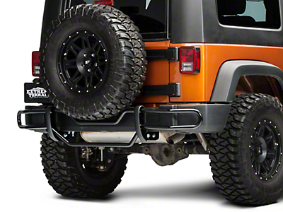 RedRock 4x4 Rear Double Tube Bumper Guard - Gloss Black (07-18 Wrangler JK)