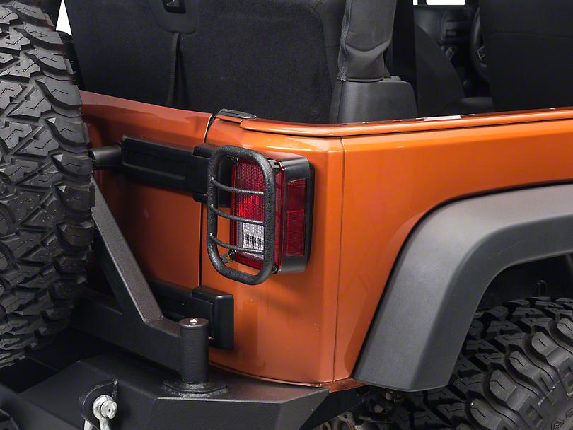 RedRock 4x4 Tail Light Guards - Textured Black (07-18 Jeep Wrangler JK)