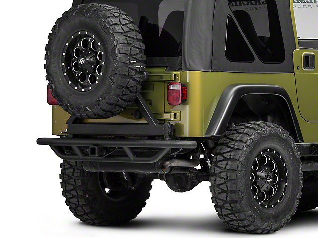 RedRock 4x4 Tubular Rock Crawler Rear Bumper with Tire Carrier; Textured Black (97-06 Jeep Wrangler TJ)