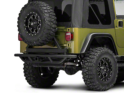 RedRock 4x4 Tubular Rock Crawler Rear Bumper w/ Tire Carrier - Textured Black (97-06 Wrangler TJ)