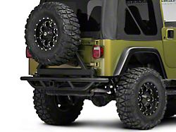 RedRock 4x4 Tubular Rock Crawler Rear Bumper w/ Tire Carrier - Textured Black (97-06 Jeep Wrangler TJ)