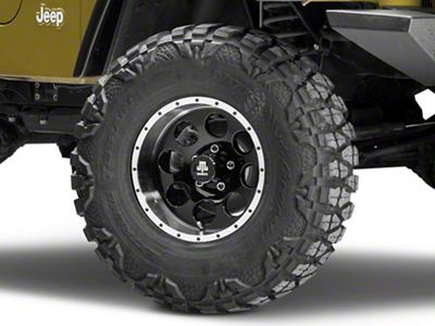 Mammoth 8 Beadlock Style Black Wheel - 15x8 -19mm Offset (87-06 Jeep Wrangler YJ & TJ)