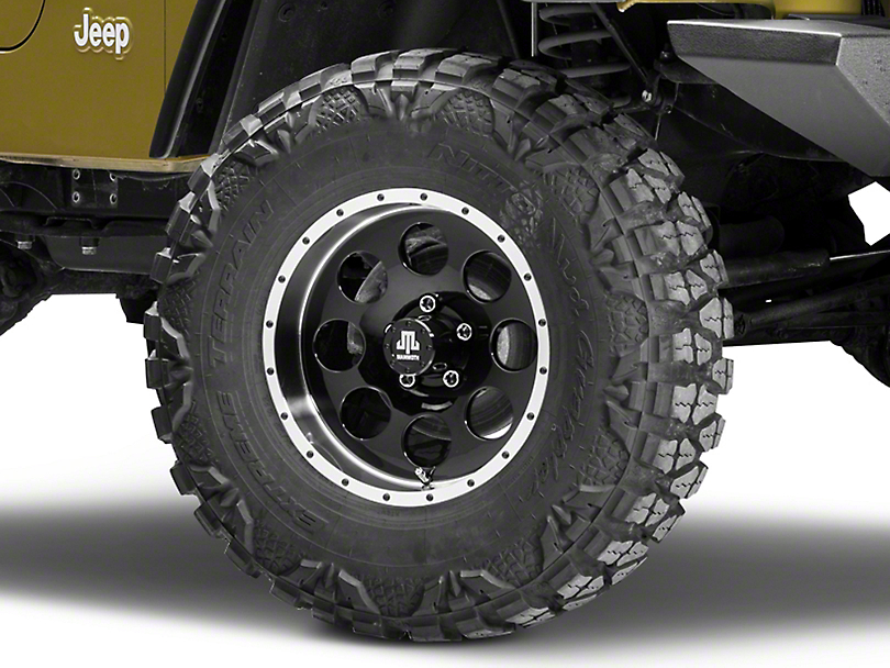 Mammoth 8 Beadlock Style Black Wheel - 16x8 +00mm Offset (87-06 Jeep Wrangler YJ & TJ)
