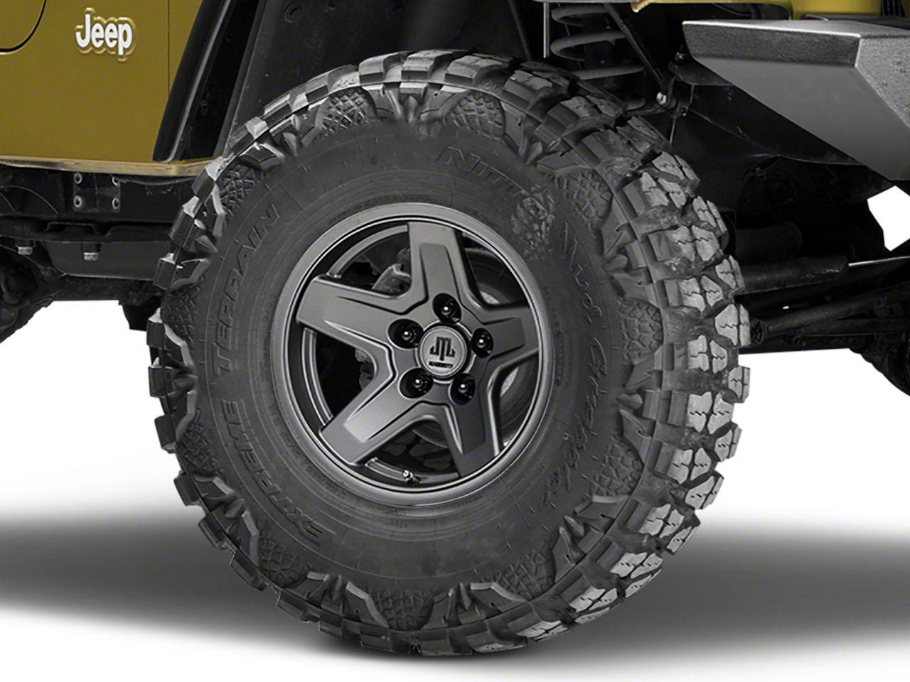 Mammoth Boulder Charcoal Wheel - 15x8 -19mm Offset (87-06 Jeep Wrangler YJ & TJ)