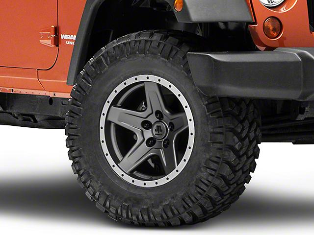 Mammoth Boulder Beadlock Style Charcoal Wheel; 17x9 (07-18 Jeep Wrangler JK)