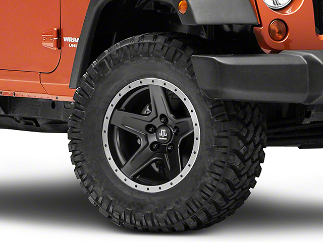Mammoth Boulder Beadlock Style Black Wheel - 17x9 (07-18 Jeep Wrangler JK; 2018 Jeep Wrangler JL)