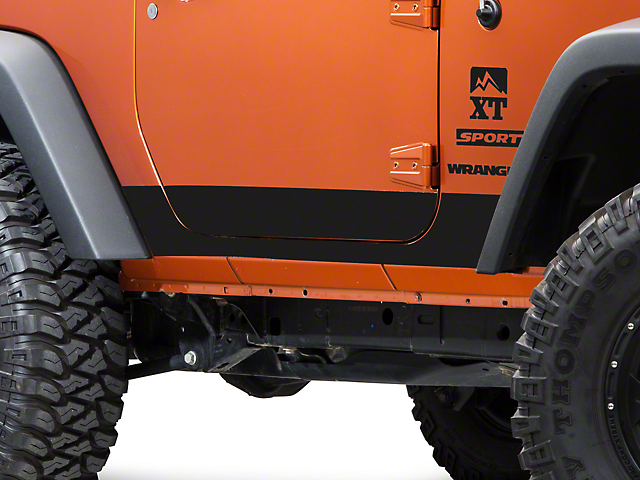 SEC10 Rocker Panel Decal; Matte Black (07-18 Jeep Wrangler JK 2 Door)