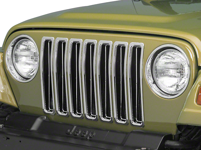 RedRock 4x4 Grille Inserts - Chrome (97-06 Jeep Wrangler TJ)