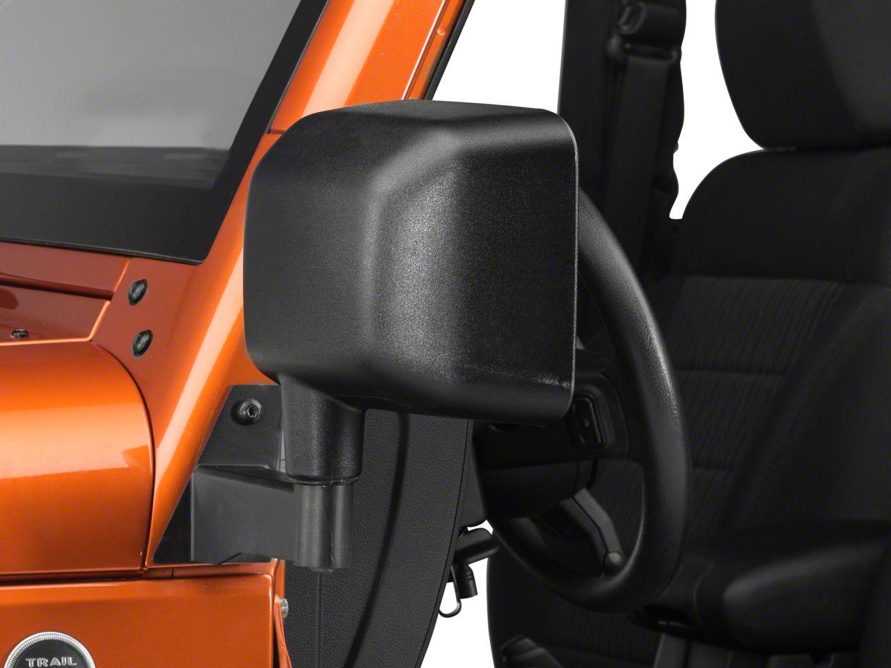Barricade Textured Black Mirror Relocation Kit - Pair (07-18 Jeep Wrangler JK)