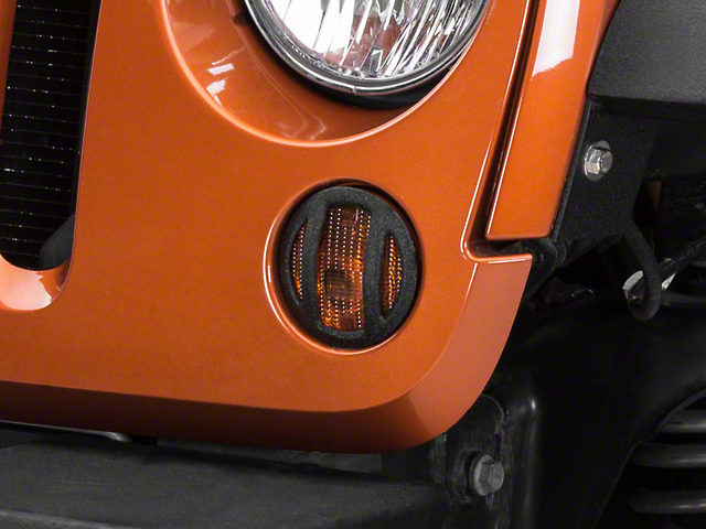 Barricade Turn Signal Light Guards; Black (07-18 Jeep Wrangler JK)
