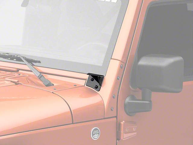 KC HiLiTES Windshield Hinge Mounting Brackets - Black (07-18 Jeep Wrangler JK)