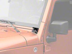 KC HiLiTES Windshield Hinge Mounting Brackets; Black (07-18 Jeep Wrangler JK)