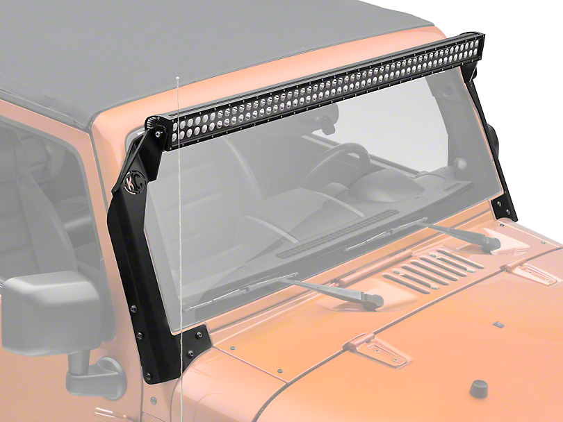 KC HiLiTES 50 in. C-Series C50 LED Light Bar w/ Overhead Mounting Brackets (07-18 Jeep Wrangler JK)