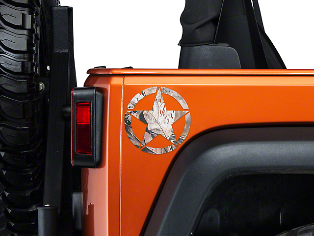 On The Move Star Small Decal - Real Tree - Pair (87-19 Jeep Wrangler YJ, TJ, JK & JL)