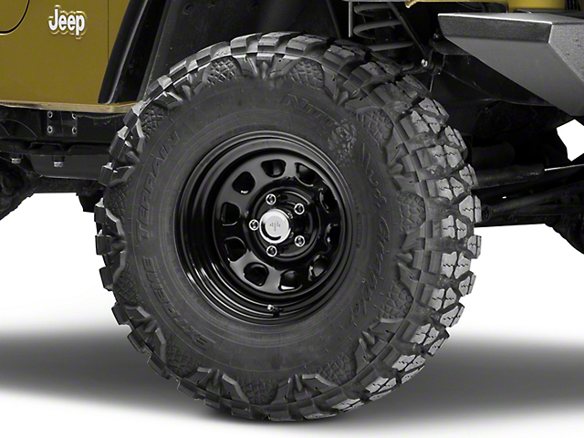 Mammoth D Window Black Steel Wheel - 15x8 (87-06 Jeep Wrangler YJ & TJ)