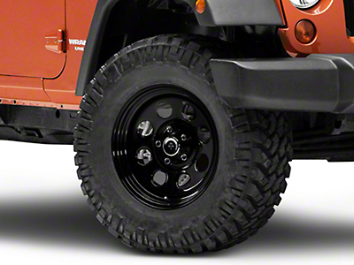 Mammoth 8 Steel Black Wheel w/ Black Center Cap - 17x9 (07-18 Jeep Wrangler JK; 2018 Jeep Wrangler JL)
