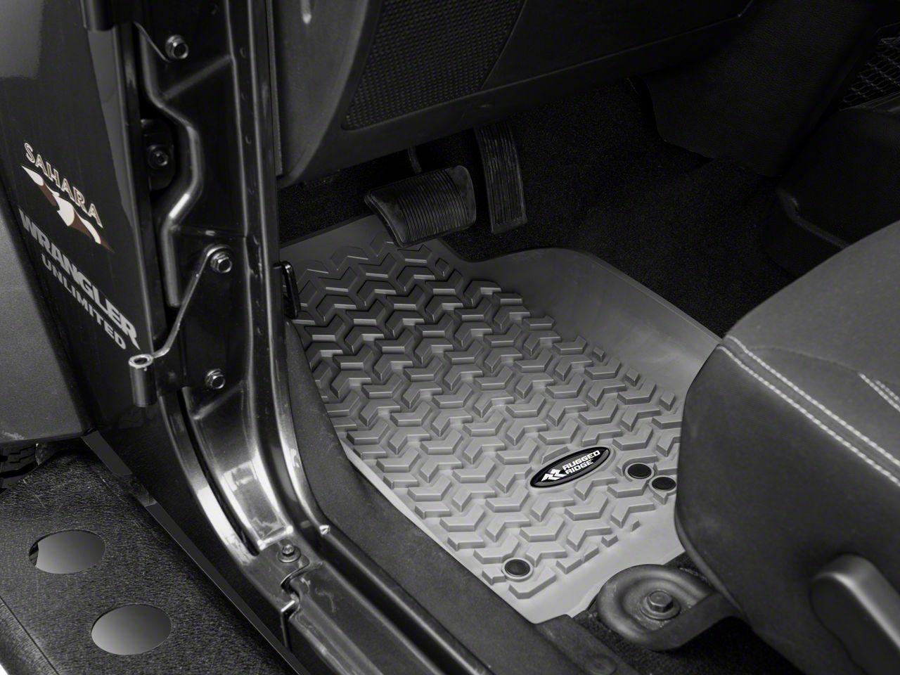 Rugged Ridge All-Terrain Floor Mats - Gray (14-18 Jeep Wrangler JK)