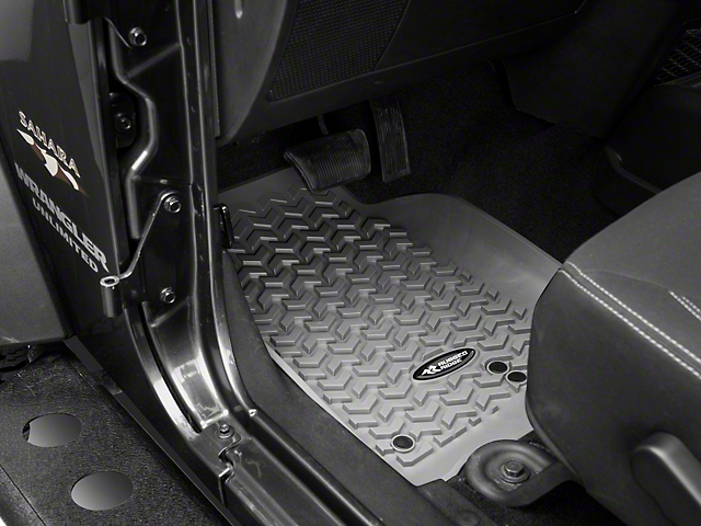 Rugged Ridge All-Terrain Front Floor Mats; Gray (07-18 Jeep Wrangler JK)