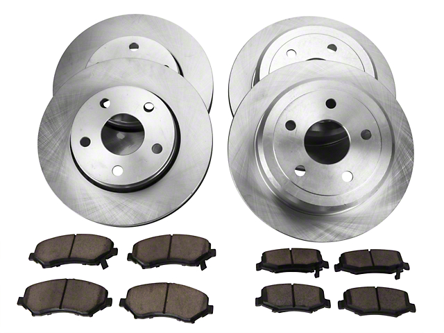 Power Stop OE Replacement Brake Rotor and Pad Kit; Front and Rear (07-18 Jeep Wrangler JK)