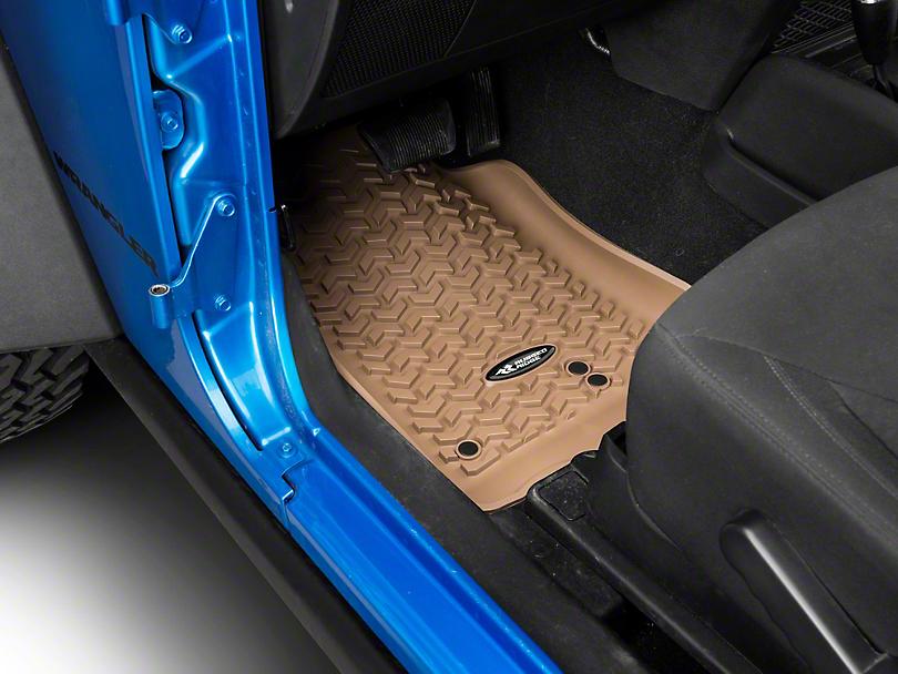 Rugged Ridge Floor Liner Kit - Tan - Front & 2nd Row (14-18 Jeep Wrangler JK 2 Door)