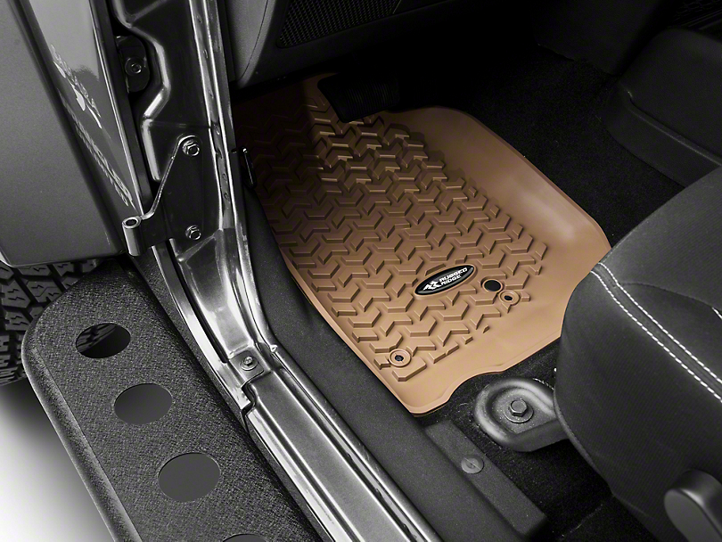 Rugged Ridge Floor Mat Kit - Tan - Front & 2nd Row (14-18 Jeep Wrangler JK 4 Door)