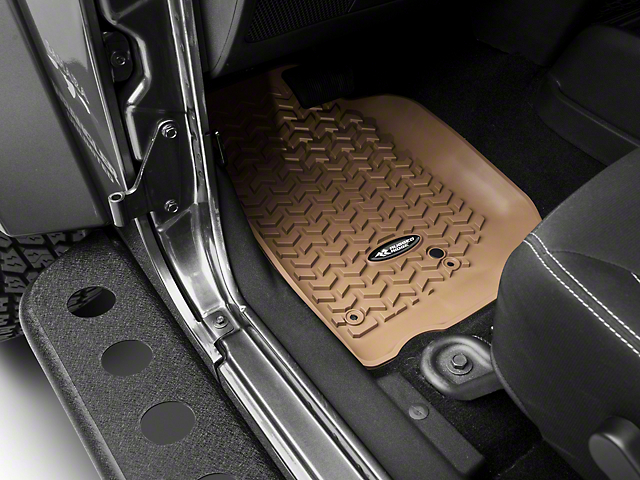 Rugged Ridge Floor Liner Kit - Tan - Front & 2nd Row (14-18 Jeep Wrangler JK 4 Door)