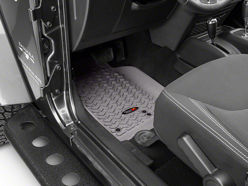 Rugged Ridge Floor Mat Kit - Gray - Front & 2nd Row (14-18 Jeep Wrangler JK 4 Door)