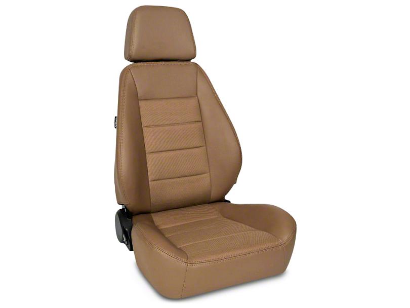 Corbeau Sport Seat - Tan Vinyl/Cloth - Pair (87-18 Jeep Wrangler YJ, TJ, JK & JL)