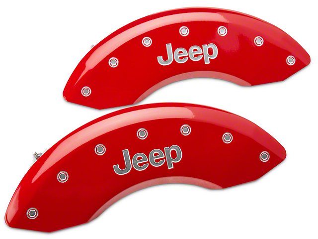 MGP Red Caliper Covers w/ Jeep Logo - Front Only (87-06 Jeep Wrangler YJ & TJ)
