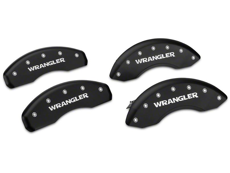 MGP Matte Black Caliper Covers w/ Wrangler Logo - Front & Rear (07-18 Wrangler JK)