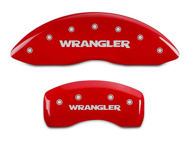 MGP Red Caliper Covers w/ Jeep Wrangler Logo - Front & Rear (07-18 Jeep Wrangler JK)