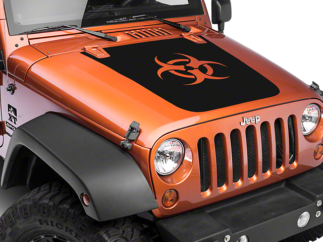 XT Graphics Bio Hazard Hood Decal - Matte Black (07-17 Wrangler JK)