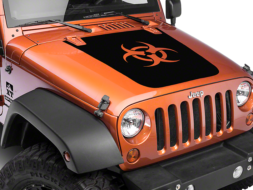 XT Graphics Bio Hazard Hood Decal - Black (07-17 Wrangler JK)