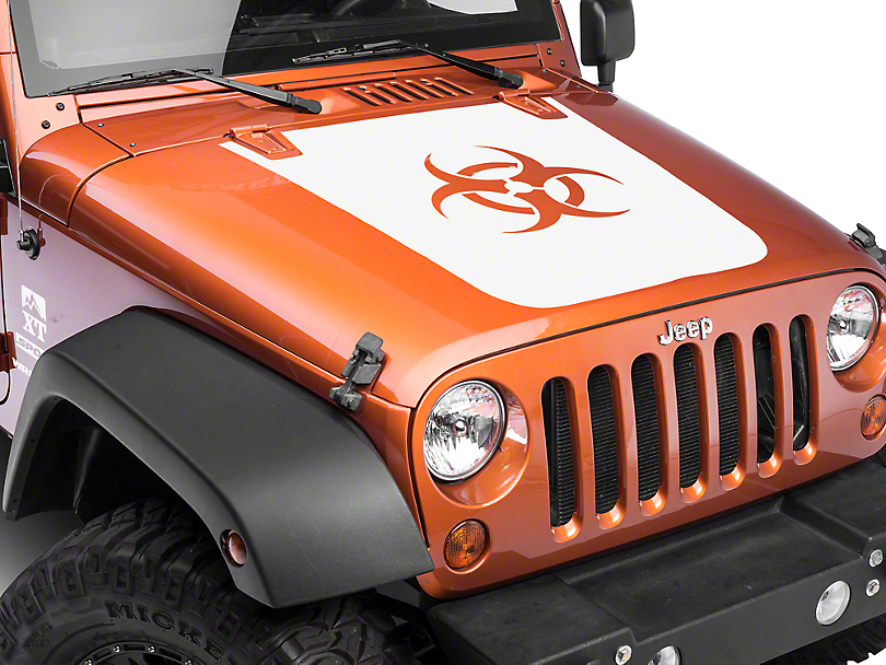 Bio Hazard Hood Decal - White (07-18 Jeep Wrangler JK)