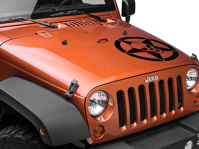 SEC10 Skull Star Hood Decal; Black (87-21 Jeep Wrangler YJ, TJ, JK & JL)