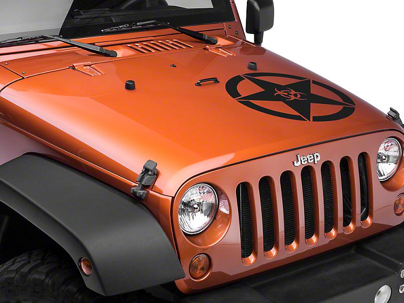 XT Graphics Bio Hazard Star Decal Set - Matte Black (87-18 Jeep Wrangler YJ, TJ, JK & JL)
