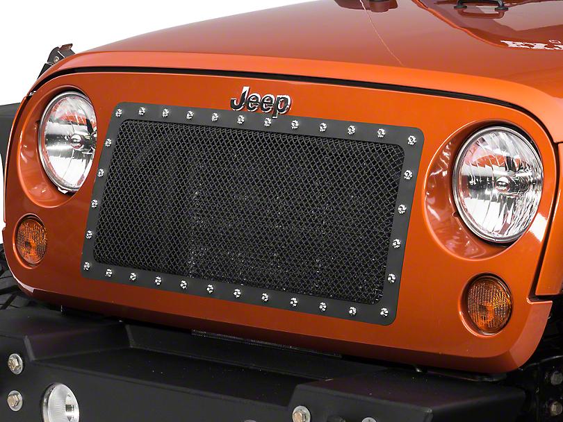 RedRock 4x4 Black Stainless Cutout Grille (07-18 Jeep Wrangler JK)