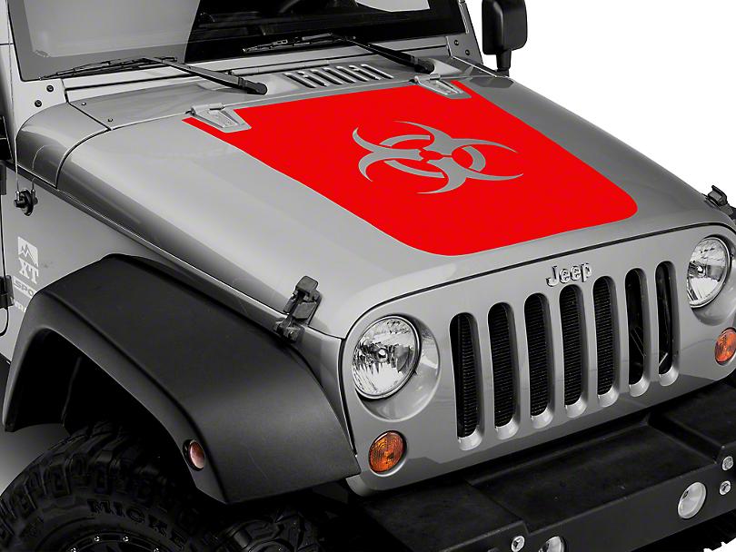 XT Graphics Bio Hazard Hood Decal - Red (07-18 Wrangler JK; 2018 Wrangler JL)