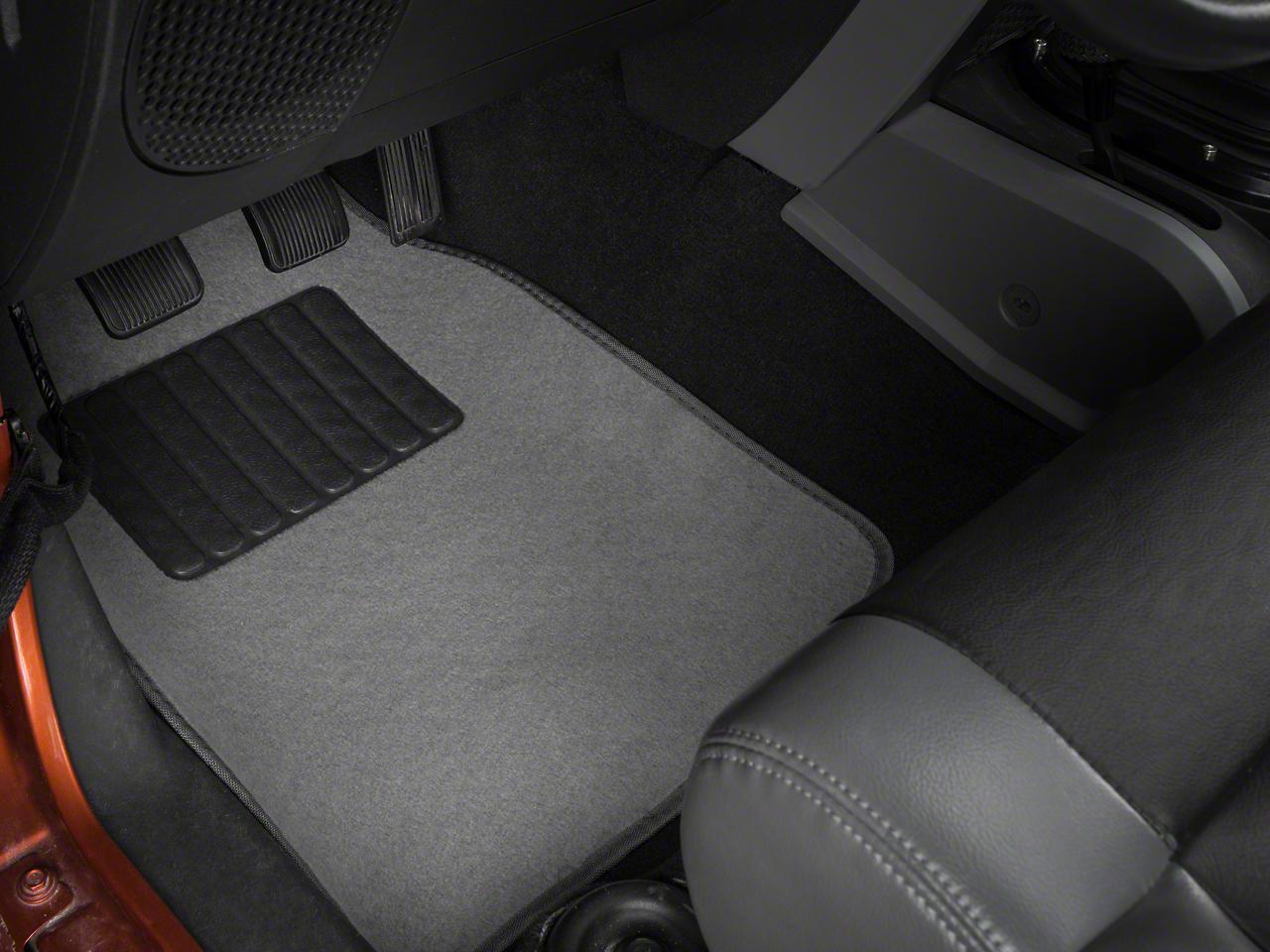 Alterum 4-Piece Fabric Floor Mat Set w/ Heel Pad- Gray (87-18 Jeep Wrangler YJ, TJ, JK & JL)