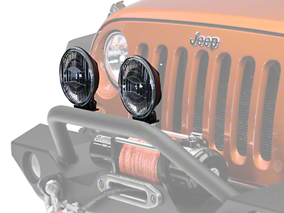 Hella 4 in. 500 Black Magic Round Halogen Driving Lamps - Pair (87-18 Wrangler YJ, TJ & JK)