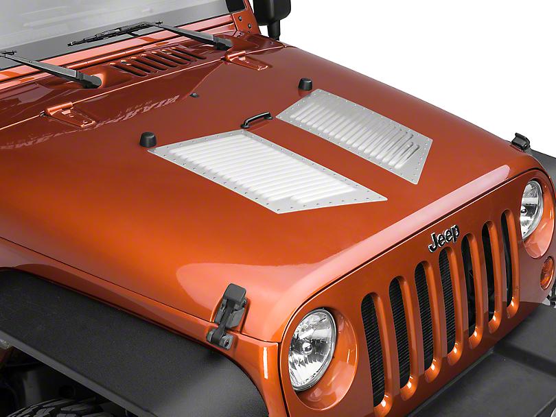 RedRock 4x4 Large Hi-Flow Louvers - Natural Aluminum w/ Stainless Rivets (87-19 Jeep Wrangler YJ, TJ, JK & JL)