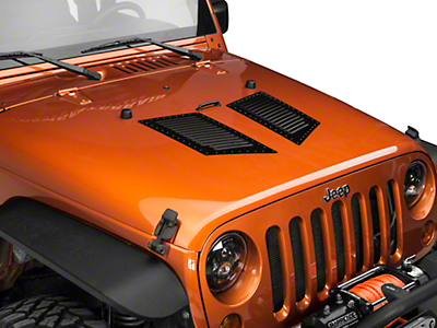 RedRock 4x4 Medium Hi-Flow Louvers - Semi-Gloss w/ Black Rivets (87-17 Wrangler YJ, TJ, JK)