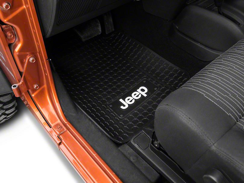 Alterum Jeep Logo Front Floor Mats - Black (87-18 Jeep Wrangler YJ, TJ, JK & JL)