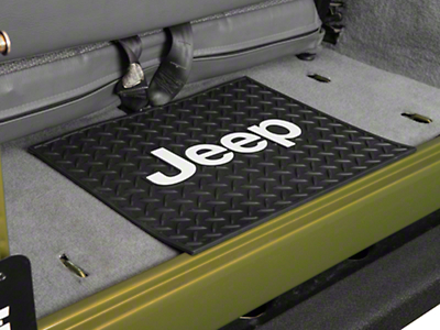Alterum Jeep Logo Rear Utility Floor Mat - Black (87-18 Jeep Wrangler YJ, TJ, JK & JL)