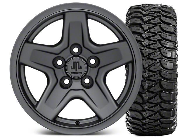 Mammoth Boulder Charcoal Wheel; 15x8 Wheel; and Mickey Thompson Baja MTZ 31X10.50R15 (87-06 Jeep Wrangler YJ & TJ)